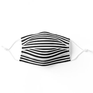 Simple White Striped Pattern On Black Adult Cloth Face Mask