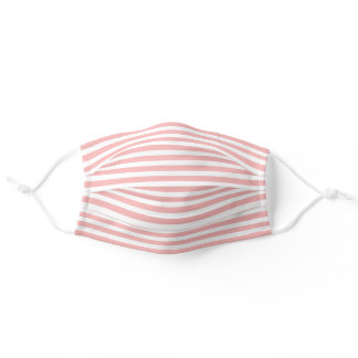 Simple White Striped Pattern On Blush Coral Pink Adult Cloth Face Mask