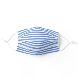 Simple White Striped Pattern On Cornflower Blue Adult Cloth Face Mask