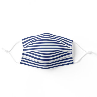 Simple White Striped Pattern On Dark Nautical Blue Adult Cloth Face Mask