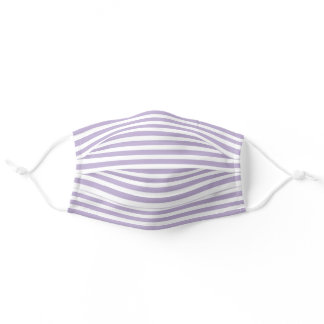 Simple White Striped Pattern On Lavender Violet Adult Cloth Face Mask