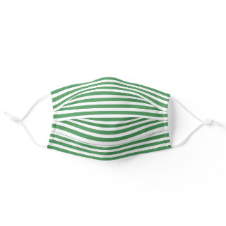 Simple White Striped Pattern On Medium Green Adult Cloth Face Mask