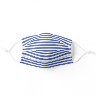 Simple White Striped Pattern On Medium Summer Blue Adult Cloth Face Mask