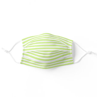 Simple White Striped Pattern On Yellow Green Adult Cloth Face Mask