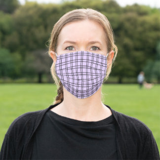 Simple Windowpane Check Lilac and Black Adult Cloth Face Mask