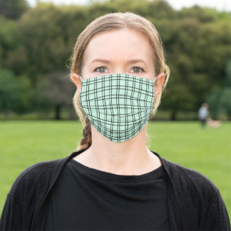 Simple Windowpane Check Mint Green and Black Adult Cloth Face Mask