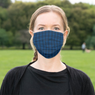 Simple Windowpane Check Navy Blue and Black Adult Cloth Face Mask