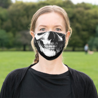 Skeleton Skull Mouth Gothic Black and White Adult Cloth Face Mask