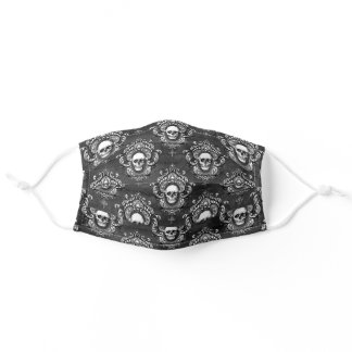 Skull and Grey Gothic Adult Cloth Face Mask