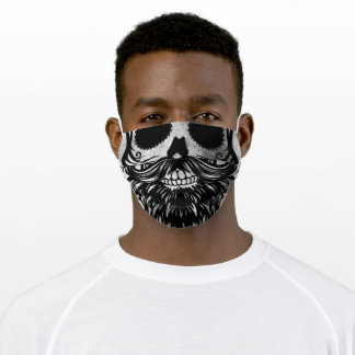 Skull Mouth with Beard Grunge Texture Adult Cloth Face Mask