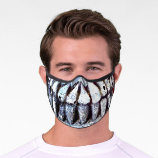 Skull Teeth Pop Art Colorful Red Green Gray Funny Premium Face Mask
