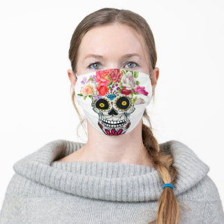 skull with floral adult cloth face mask