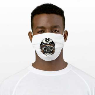 Skull with helmet, glasses and moustache adult cloth face mask