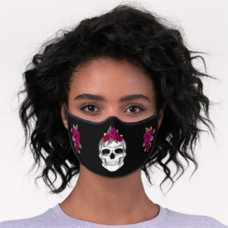Skull with Pink Roses Black Premium Face Mask