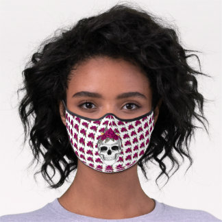 Skull with Pink Roses Halloween  Premium Face Mask