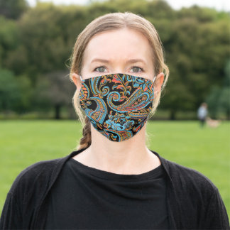 Sky Blue and Autumn Orange Vintage Paisley Adult Cloth Face Mask