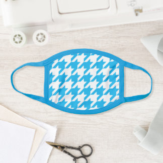Sky Blue and White Houndstooth Pattern Face Mask