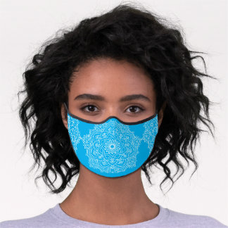 Sky Blue and White Mandala Premium Face Mask