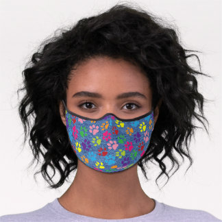 Sky Blue Pink Lime Green Dog Paws On Faux Jeans Premium Face Mask