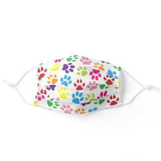 Sky Blue Pink Lime Green Dog Paws On Summer White Adult Cloth Face Mask