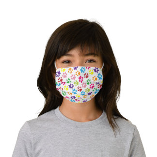 Sky Blue Pink Lime Green Dog Paws On Summer White Kids' Cloth Face Mask