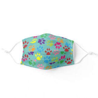 Sky Blue Purple Hot Pink Dog Paws On Mint Green Adult Cloth Face Mask