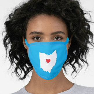 Sky Blue White and Red Heart Ohio Love Face Mask