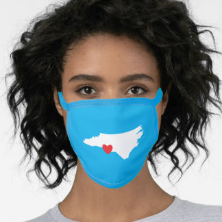 Sky Blue White Red Heart North Carolina Love Face Mask