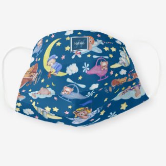 Sleepy Teddy Bears Dreaming of Flying Airplanes Adult Cloth Face Mask