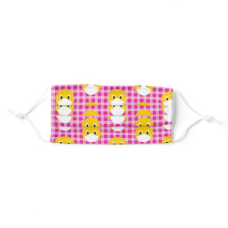 smile face with mask on pink checked