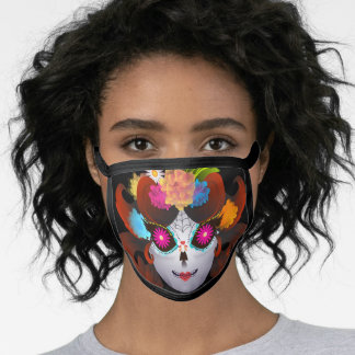 Smiling Female Skeleton Flower Hair and Heart Lips Face Mask