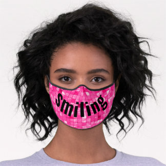 Smiling Fuchsia Variegated Geometric Tile Pattern Premium Face Mask
