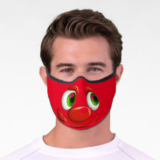 Smiling funny clown face premium face mask