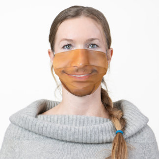 Smiling Man with Mustache Funny Adult Cloth Face Mask