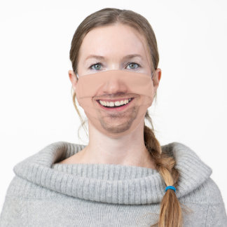 Smiling Man's Face Mask With Facial Hair