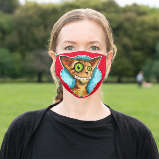 Smiling Orange DERP Cat funny pet painting Adult Cloth Face Mask