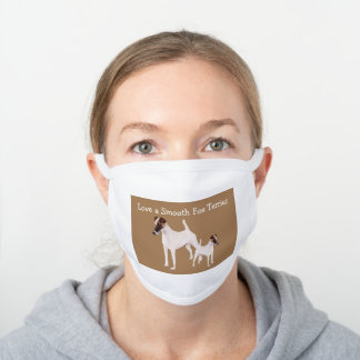 Smooth Fox Terrier Family Pet Theme White Cotton Face Mask