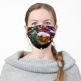 Snow-Covered Yellow Ornament Ball Adult Cloth Face Mask
