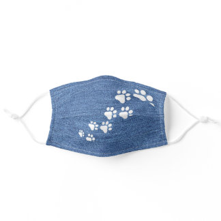 Snow Dog Paws On Faux Blue Denim Jeans Texture Adult Cloth Face Mask