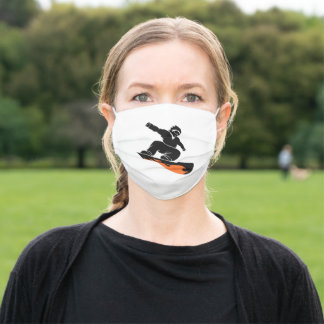 Snowboarder  silhouette adult cloth face mask