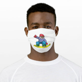 Snowboarder with Snowboard at Adult Cloth Face Mask