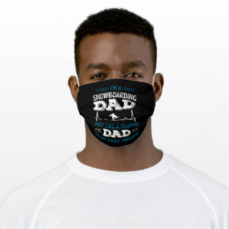 Snowboarding Dad Funny Heartbeat Gift Adult Cloth Face Mask