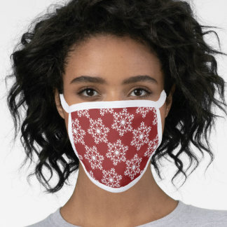 Snowflake Pattern On Red Face Mask
