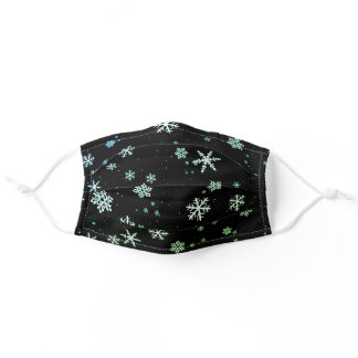 Snowflake Winter Pattern Green Black and White Adult Cloth Face Mask