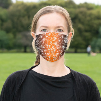 Snowflakes and Sparkles over Orange Light Adult Cloth Face Mask