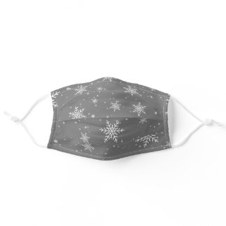 Snowflakes  on Classic Gray Silver Background Adult Cloth Face Mask