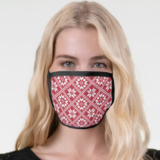 Snowflakes red Christmas pattern Face Mask