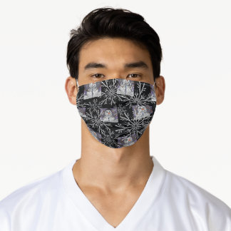 Snowflakes with Snowmen on Black Holiday Adult Cloth Face Mask