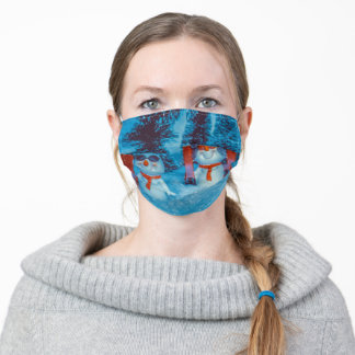 Snowman Snowboarder Adult Cloth Face Mask