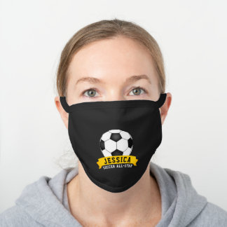 Soccer All-Star Ball and Name Black Cotton Face Mask